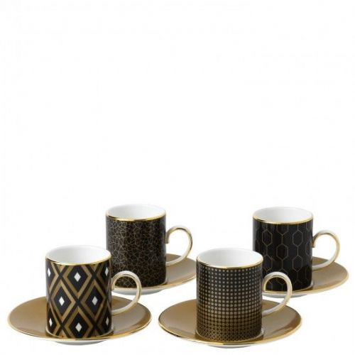Arris Bone China Multi-Colour Espresso Cup & Saucer (Set of 4)